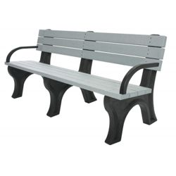 Recycled Plastic Outdoor Flat Bench with Arms - 6 Ft