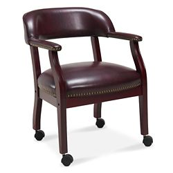McKinley Leather Captain's Chair with Casters