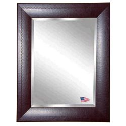 "25.7""H x 21.7""W Leather Frame Beveled Mirror"
