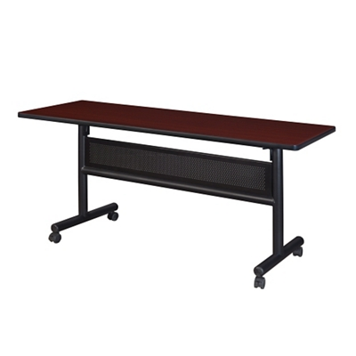 "Merit Flip Top Training Table with Casters and Modesty Panel - 60""W x 24""D"
