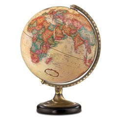 Antique Desktop Globe with Brass and Metal Stand