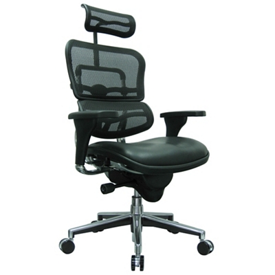 High Mesh Back Leather Seat Executive Chair with Headrest