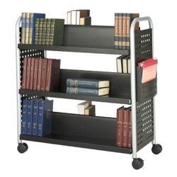 Double-Sided Six Shelf Book Cart