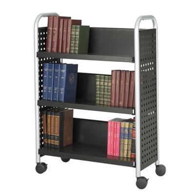 Single-Sided Three Shelf Book Cart