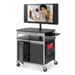 Mobile Multimedia Cart with Locking Cabinet