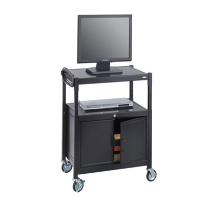 Mobile Adjustable Height AV Cart with Surge Protector