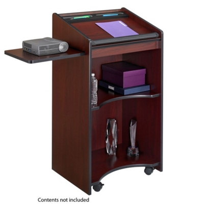 Mobile Lectern with Pull Out Side Shelf