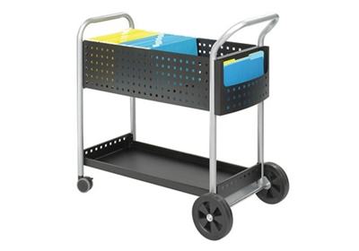 Contemporary Black Steel Legal File Mail Cart
