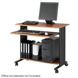 Computer Workstation with Casters