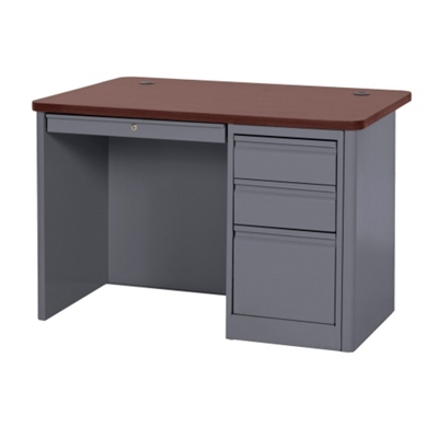 "Steel Single Pedestal Compact Desk - 48""W x 30""D"