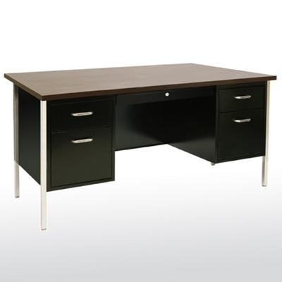 """Lockable Compact Steel Double Pedestal Desk - 60""""W"""