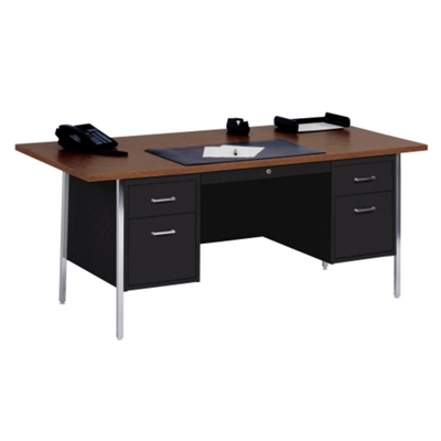 "Lockable Steel Double Pedestal Desk - 72""W"