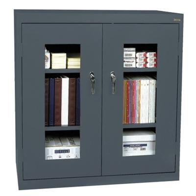 "3 Shelf Steel Storage Cabinet with ClearView Doors - 46""W x 24""D"