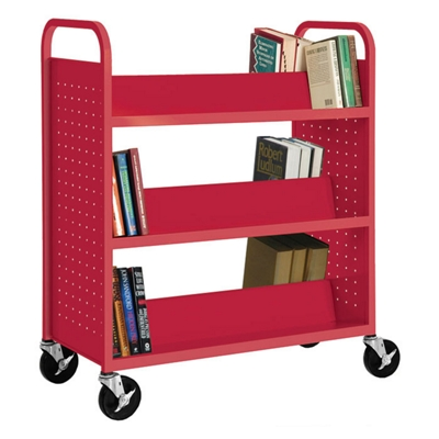 Slanted Six Shelf Book Truck