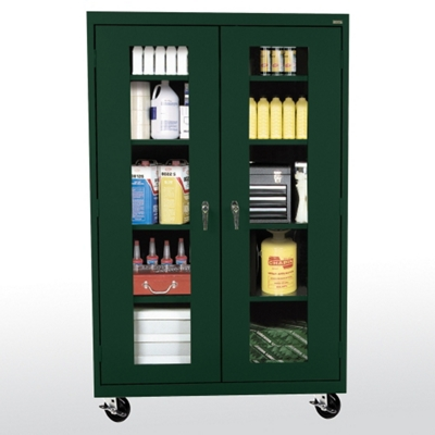 "Five Shelf Mobile Cabinet with ClearView Doors - 46""W x 24""D"