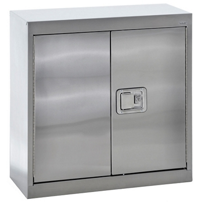 "Stainless Steel Wall Cabinet with Paddle Lock - 30""W x 12""D x 30""H"