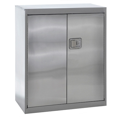 "Three Shelf Stainless Steel Cabinet with Paddle Lock - 36""W x 18""D x 42""H"