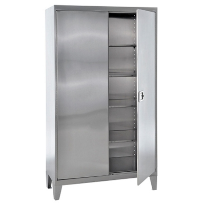 """Raised Stainless Steel Cabinet with Paddle Lock - 48""""W x 24""""D x 85""""H"""