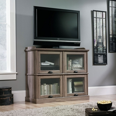 TV Stand with Flip-Up Glass Doors