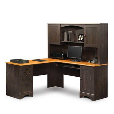 Corner L-Desk with Hutch and Reversible Storage