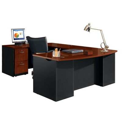Executive Bowfront U Desk With Locking Pedestals, 14762
