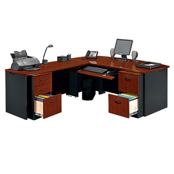 locking double pedestal executive bowfront l desk 14763 - Home Office L Shaped Desk