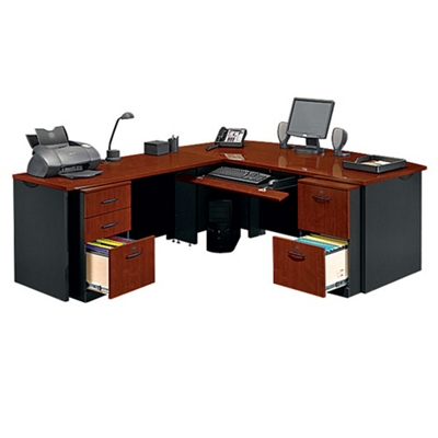 Locking Double Pedestal Executive Bowfront L Desk, 14763