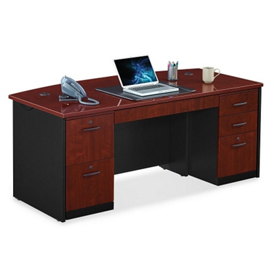 Locking Double Pedestal Executive Bowfront Desk By Sauder Office