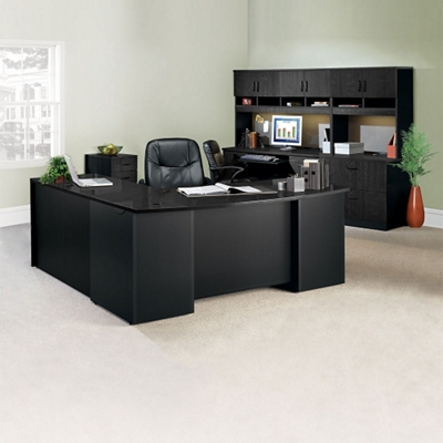 Complete L Desk Office Suite With Locking Files, 14768