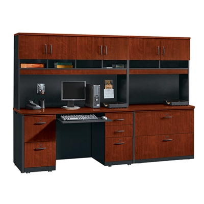 Complete Credenza and Locking Lateral File Wall Set