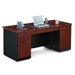 Locking Double Pedestal Executive Straight Desk