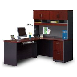 Compact Locking Single Pedestal L-Desk with Hutch
