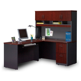 Compact Locking Single Pedestal L Desk With Hutch