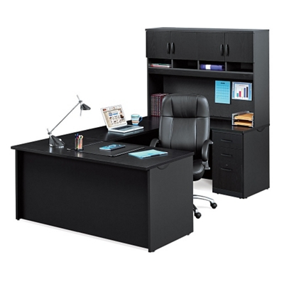 Compact U-Desk with Hutch and Lockable Pedestals