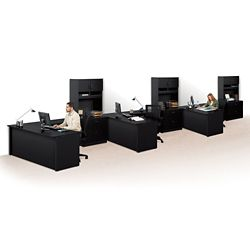 Set of Three Reversible Compact L-Desks with Hutches