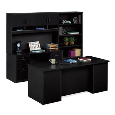 Executive Desk and Locking Storage Wall Set