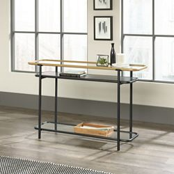 "Console Table with Safety-Tempered Glass Shelves - 46""W x 13""D"