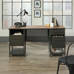 "Executive Desk with Perforated Metal Panels - 60""W x 24""D"