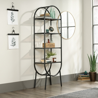"Open Shelving with Silkscreened Glass Shelves - 28""W x 13""D x 52""H"