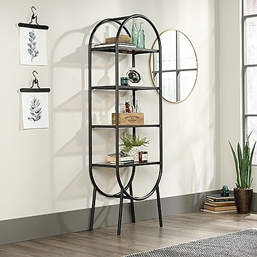 "Open Shelving with Safety-Tempered Glass Shelves- 22""W x 13.5""D x 70""H"