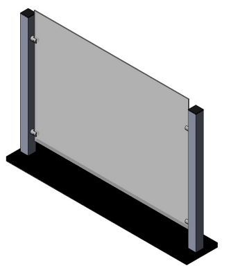 "Countertop Protective Shield with Aluminum Frame  - 35""W x 25""H"