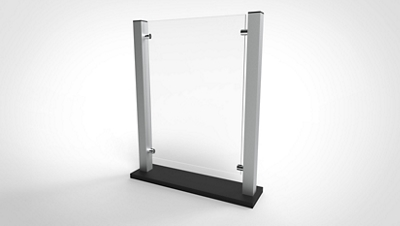 """Countertop Protective Shield with Aluminum Frame  - 19""""W x 24""""H"""