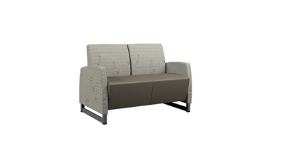 Behavioral Health Vinyl Loveseat with Upholstered Arms