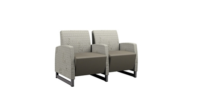 Behavioral Health Vinyl Double Guest Chair with Upholstered Arms