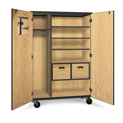 Mobile Wardrobe Storage Cabinet with File Drawers