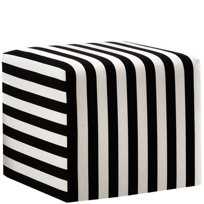 Striped Cushioned Fabric Ottoman