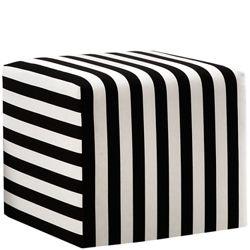 Striped Cushioned Fabric Ottoman