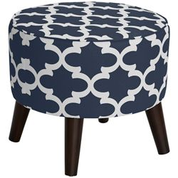 Fabric Ottoman With Tapered Legs