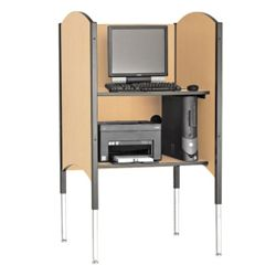 Adjustable Height Kiosk Carrel with CPU Shelf