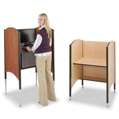 Adjustable Height Kiosk for Standing or Sitting